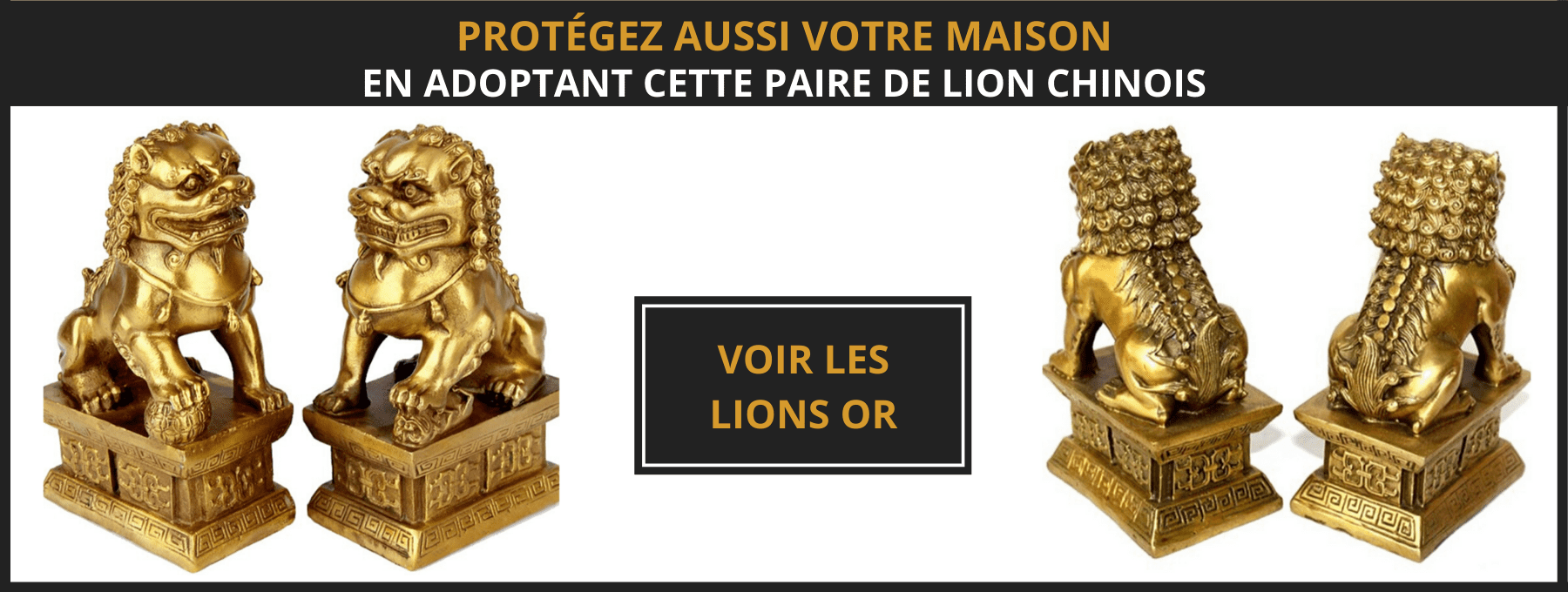 Statue lion chinois or
