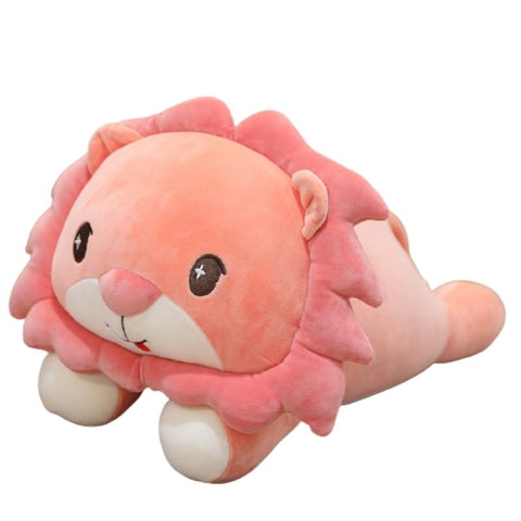 Peluche lion couché rose