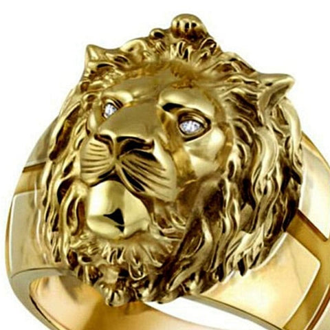 Bague lion yeux diamants.