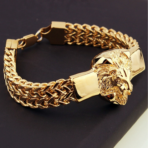 Bracelet lion plaqué or.