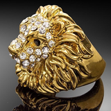 Bague or et diamants lion femme.