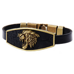Bracelet noir cuir lion or.
