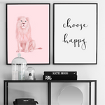 Poster lion rose et choose happy cadre.