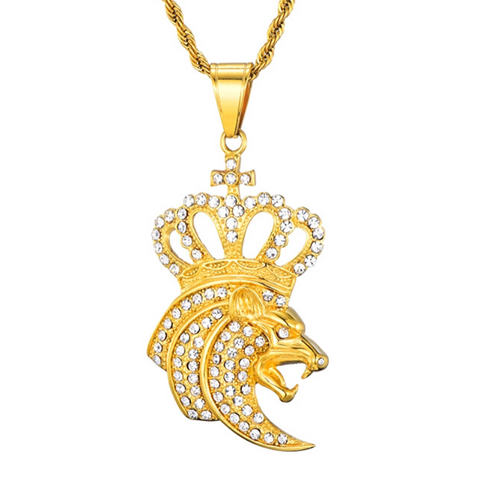 Collier tête de lion or.