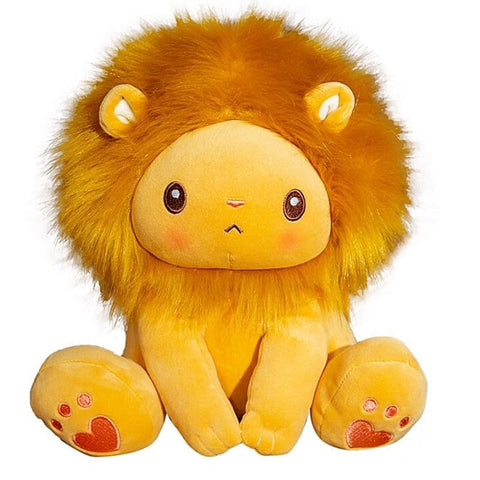 Doudou lion orange bébé.