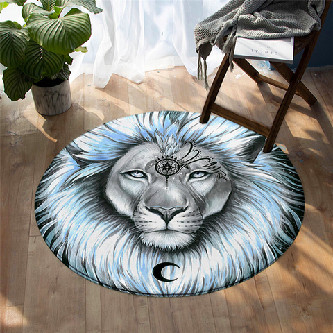Tapis rond lion royaume.