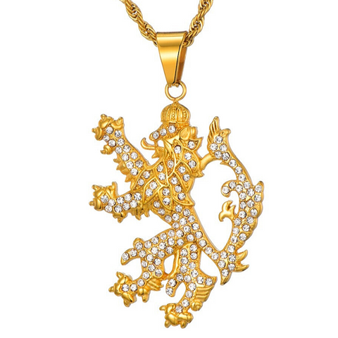 Collier lion or jaune.