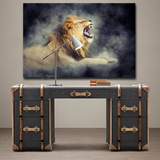 Grand tableau lion qui rugit.