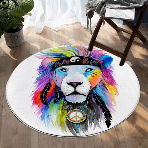 Tapis lion rond couleurs hippie.