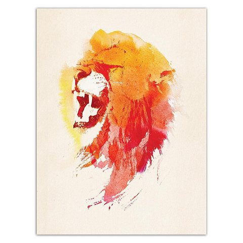 Poster lion rouge et orange.