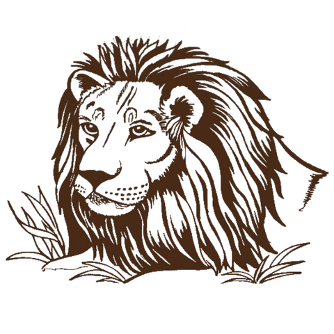 Sticker lion marron.
