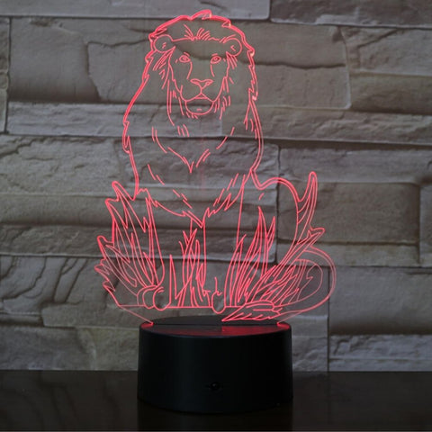 Lampe de Chevet Lion Multicolore rouge