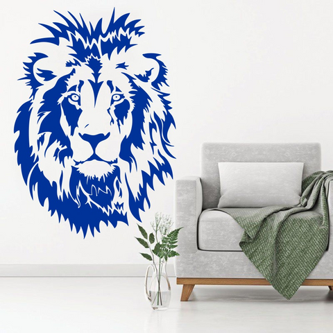 Sticker tête de lion bleue.