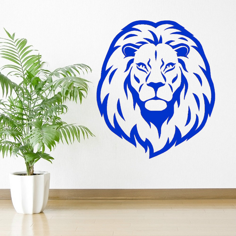 Sticker lion déco bleu.