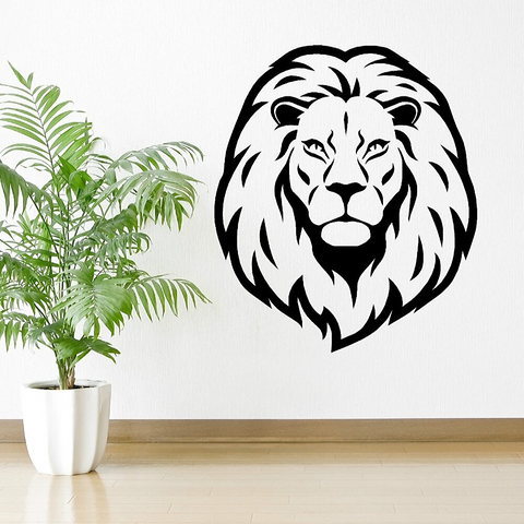 Sticker noir lion.