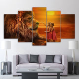 Tableau Lion Complice photo enfant