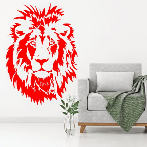 Sticker tête de lion rouge.