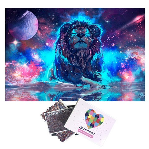 Puzzle multicolore lion.
