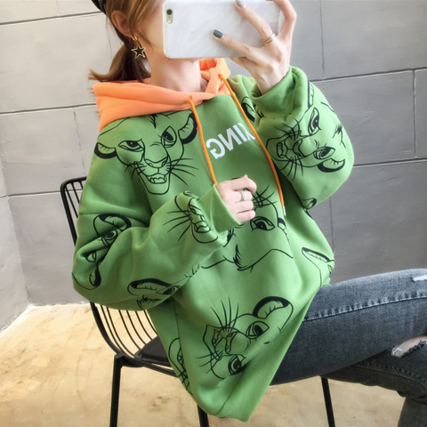 Sweat capuche le roi lion vert et orange.