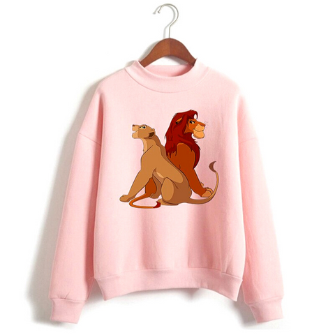 Pull Roi lion fille rose.