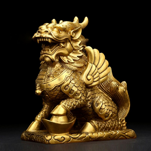 Statuette lion chinois or