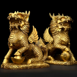 Statue Lions chinois en or