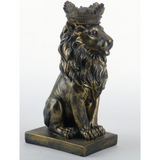 Statue lion couleur bronze.