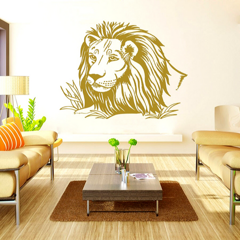 Sticker lion brun en deco.