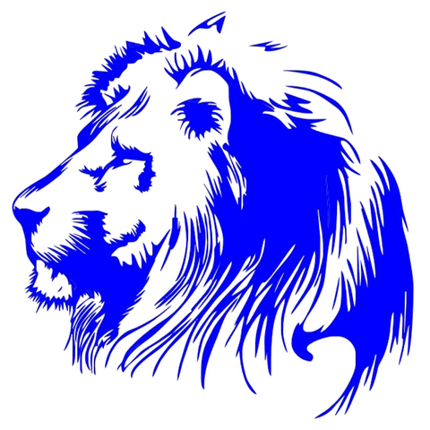 Sticker lion bleu.