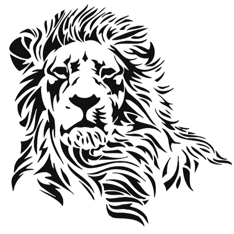 Sticker mural lion noir.
