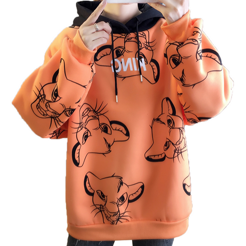 Sweat shirt le roi lion orange.