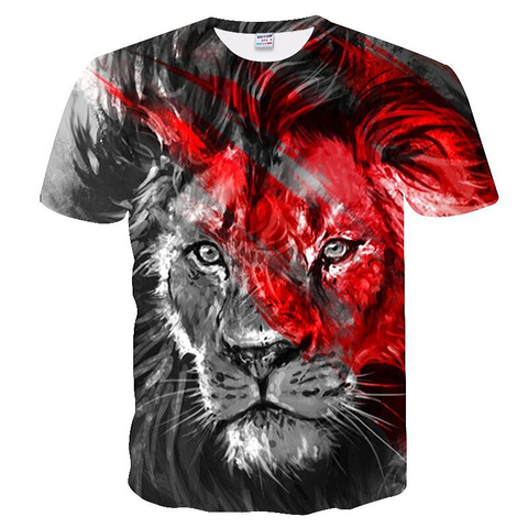 T-shirt lion noir blanc rouge.