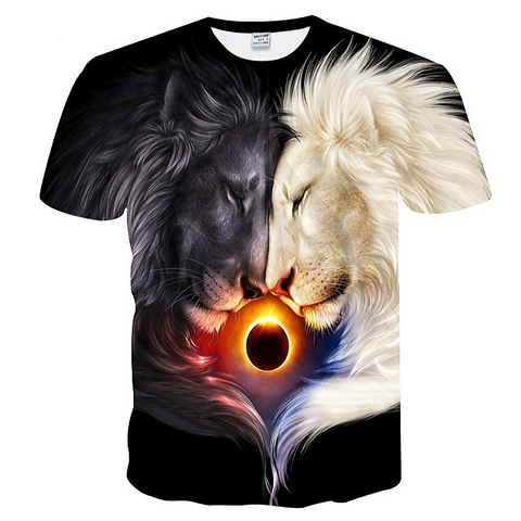 T-shirt lion noir et lion blanc.