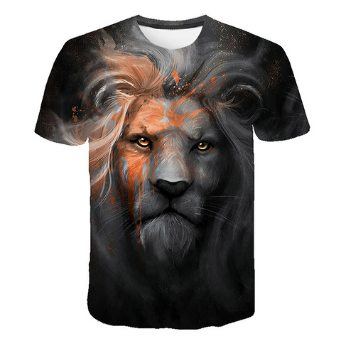 T-shirt lion noir et orange.