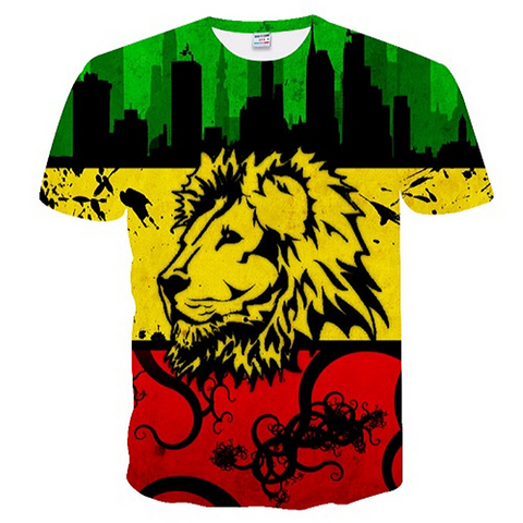 T-shirt lion couleurs Jamaique.