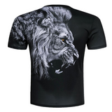 T-shirt lion qui rugit.