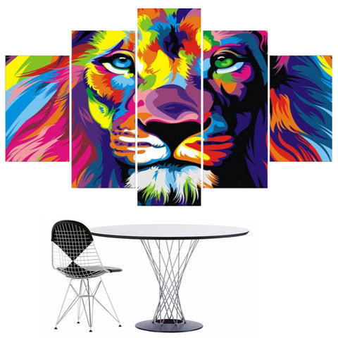 Tableau Lion Multicolore | Lion Royaume