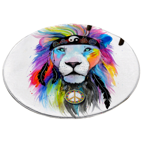 Tapis rond lion couleurs hippie.