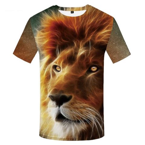 T-shirt lion couleurs.