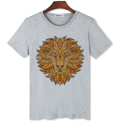 T-shirt lion gris et orange.