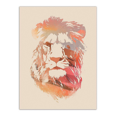 Poster lion portrait rouge.