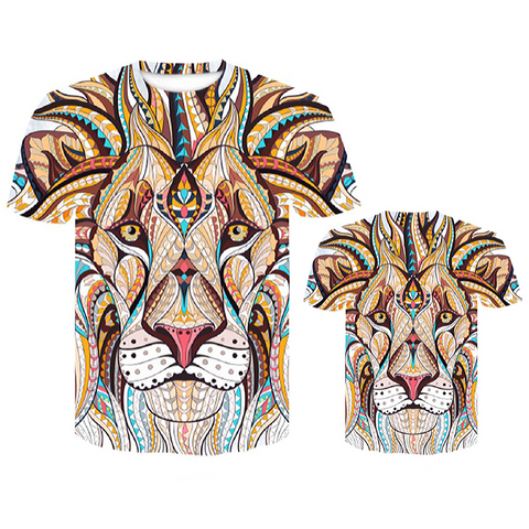 T-shirt lion mandalas.