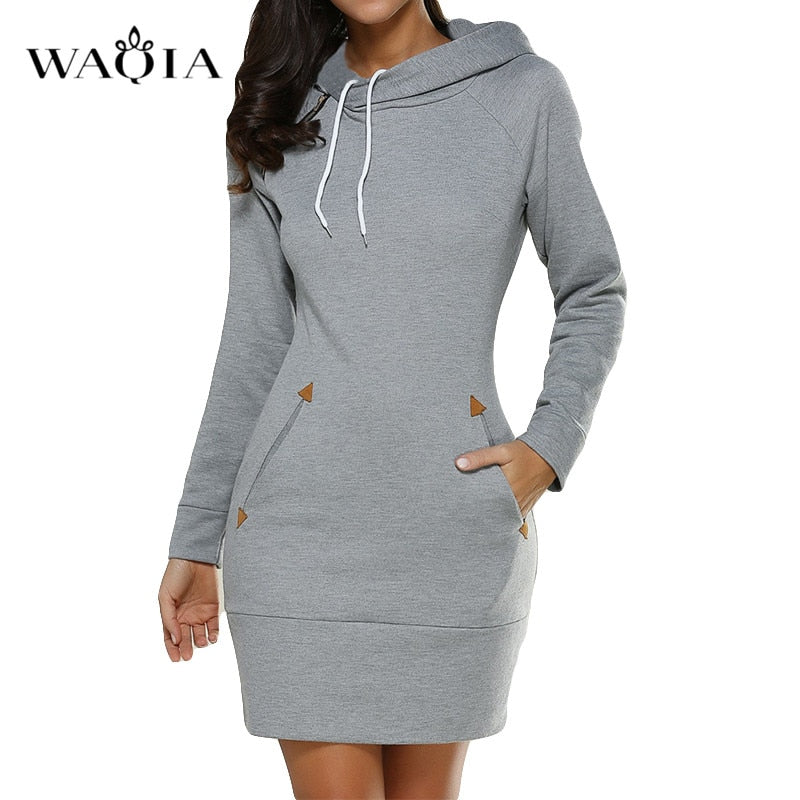 Autumn Winter Casual hooded dress
