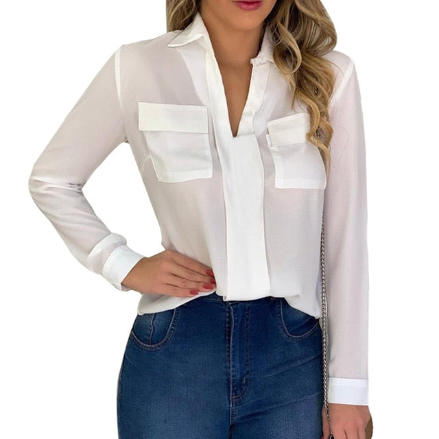 Women's  V-neck Blouse Slim Casual