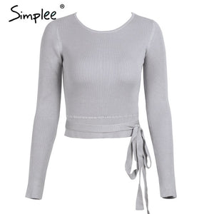 Casual tie up knitted sweater