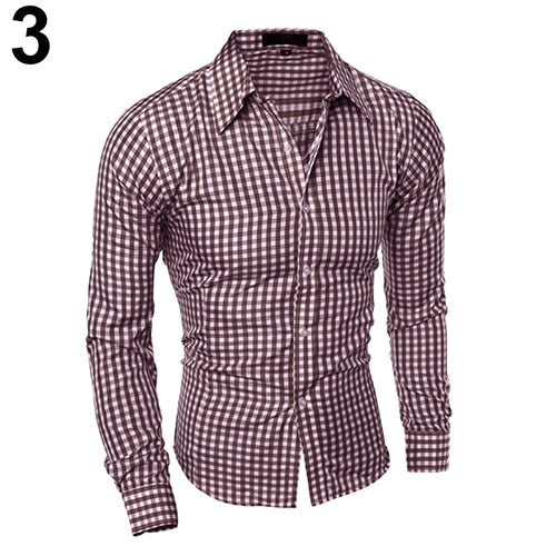 Men's Casual Button Down Plaid Long-Sleeved Shirt