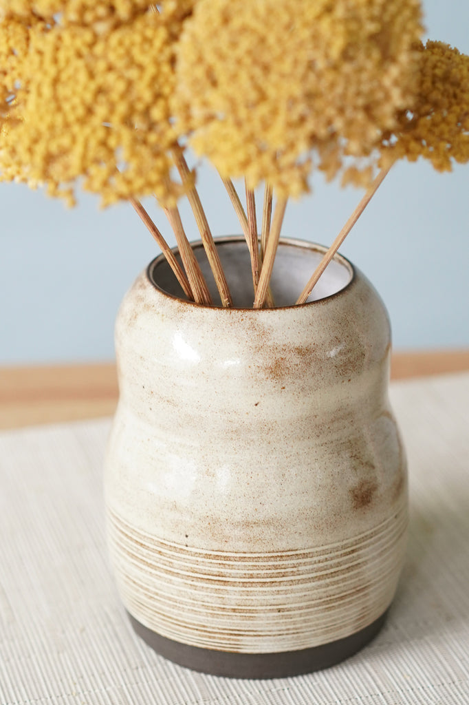 Rustic Bubble Vase on Black Clay