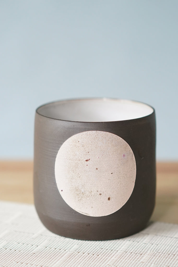 Large Moon Design Everything Cup on Black Clay