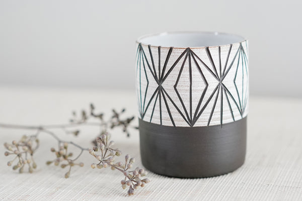 Everything Cup, Carved, in Black Clay, Diamond Pattern