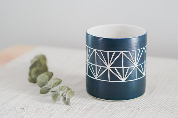 Navy Everything Cup with Wide Modern Sgraffito Carving